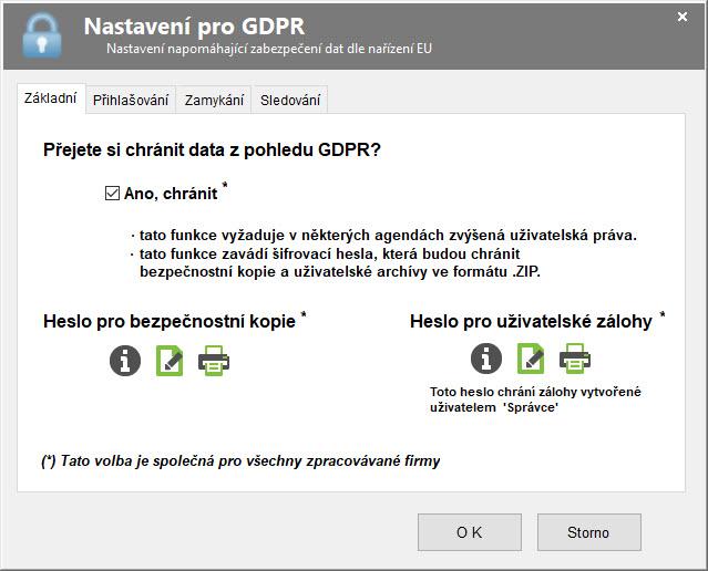 Nastavení GDPR